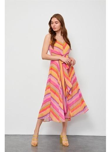 Setre Mavi Piliseli Diz Altı Elbise Sarı